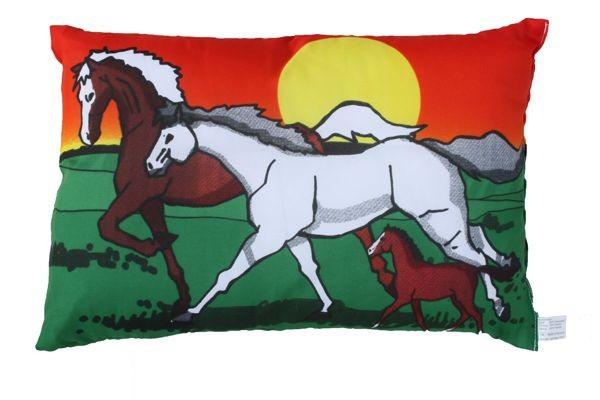 Kissen Pferde Familie, doppelseitig bedruckt ca. 28 x 40 cm Nr. 1185