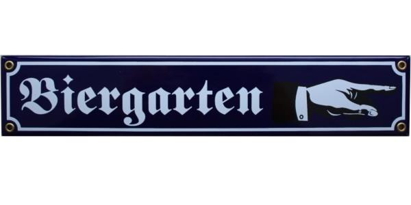 Biergarten mit Hand nach rechts Emaille Schild Nr. 1650