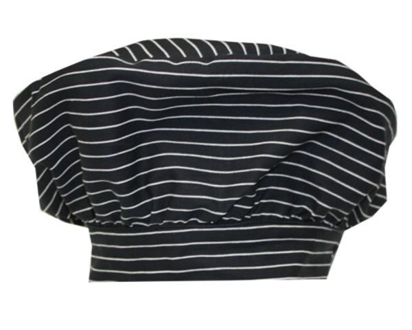 Französische Kochmütze Farbe Schwarz / weiße Streifen Nr. 3105