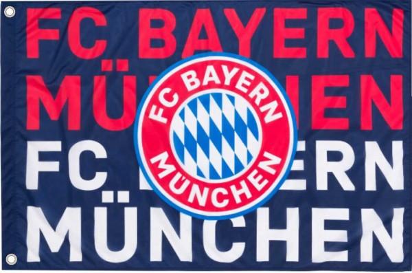 FC Bayern München Fahne Flagge Logo NAVY mit 2 Ösen Nr.1522