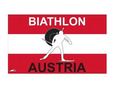 Biathlon Flagge Österreich mit Hohlsaum 90 x 150 cm Nr. 1979