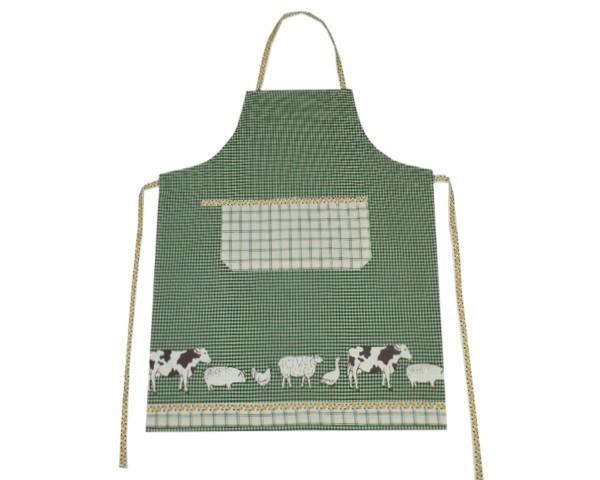 Schürze Serie Bauernhof Tiere Grün Nr. 3071