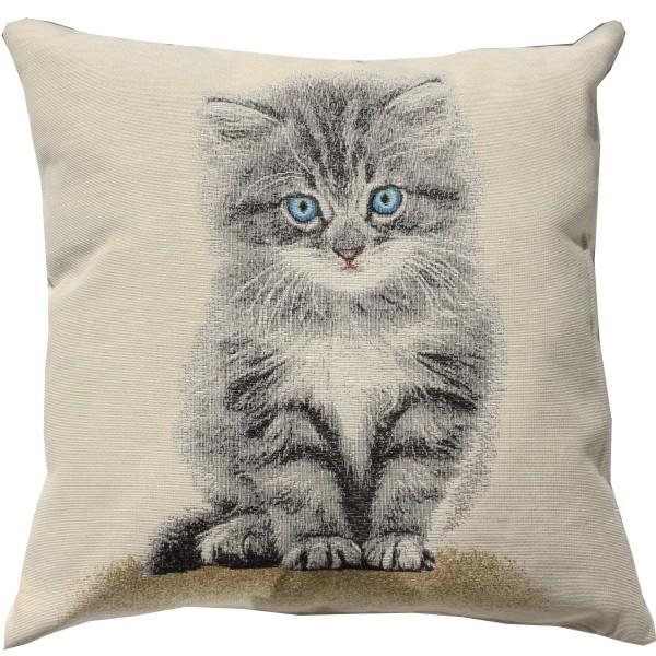 Grey Pussy Kitten Kissen Gobelin (gewebt) Motiv Katze ca. 45 x 45 cm mit Füllung Nr. 3550