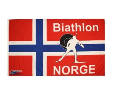 Biathlonflagge Norwegen mit Hohlsaum 90 x 150 cm Nr. 1981