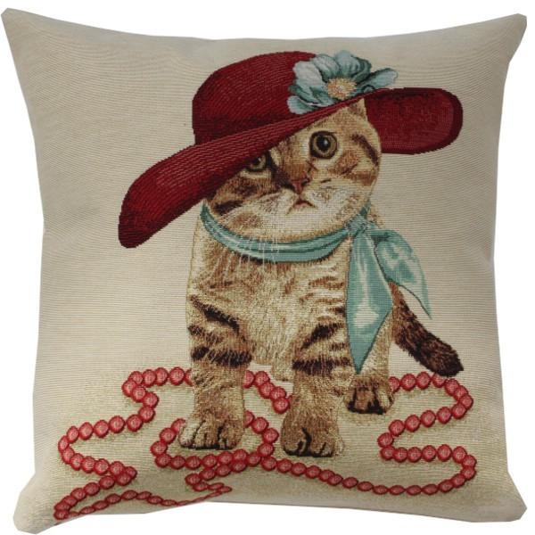 Kitty in Red Kissen Gobelin (gewebt) Motiv Katze ca. 45 x 45 cm mit Füllung Nr. 3554