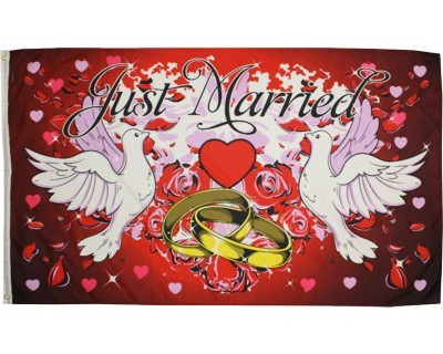 """Hochzeit Fahne """"Just Married"""" Nr. 1874"""