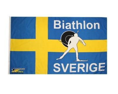 Biathlonflagge Schweden mit Hohlsaum 90 x 150 cm Nr. 1983