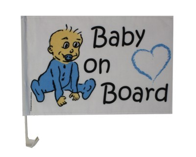 Weiße Autofahne Baby on Board-Boy Nr. 1800