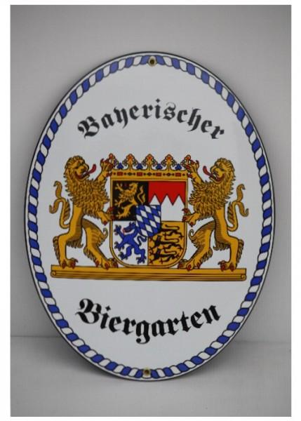 Bayerischer Biergarten Emaille Schild Groß Nr. 1738