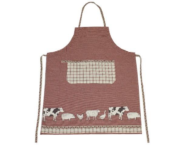 Schürze Serie Bauernhof Tiere Rot Nr. 3072