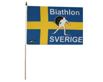 Biathlon SVERIGE (Schweden) Stockflagge 30 x 46 cm Nr. 1982