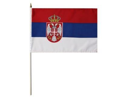 Serbien Nationalfahne mit Wappen Nr. 1961