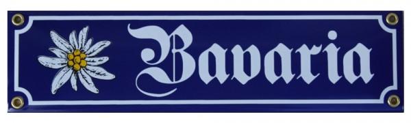 Bavaria mit Edelweiß Emaille Schild Bayern 8 x 30 cm Emailschild blau Nr. 1150