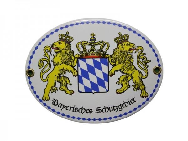 Bayerisches Schutzgebiet Emailschild 11,5 x 15 cm oval Emaille Schild (ohne Holzrahmen) Nr. 2008