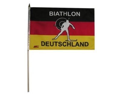 Biathlon Deutschland Stockflagge 30 x 46 cm Nr. 2757