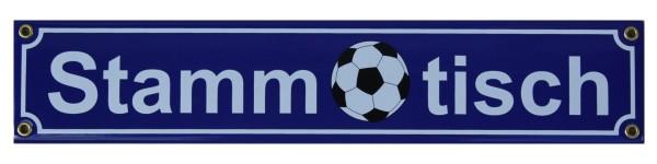 Fußball Stammtisch Emaille Schild 8 x 40 cm Emailschild blau Nr. 1480