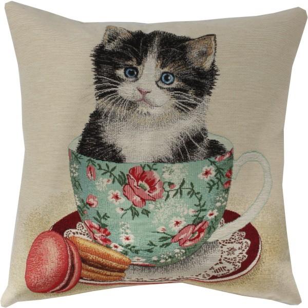Tea Kitty Kissen Gobelin (gewebt) Motiv Katze ca. 45 x 45 cm mit Füllung Nr. 3555