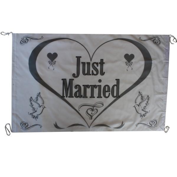 """Hochzeit Fahne """"Just Married"""" weiß Nr. 1792"""