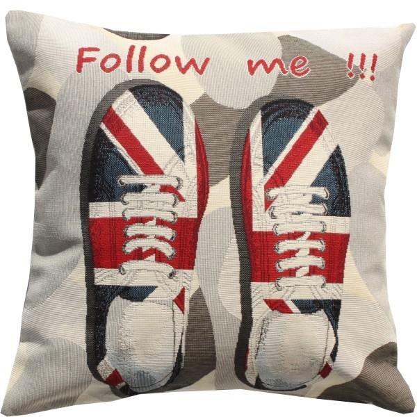 """Großbritannien England Kissen Gobelin (gewebt) Motiv Britische Schuhe """"Follow me"""" ca. 45 x"""