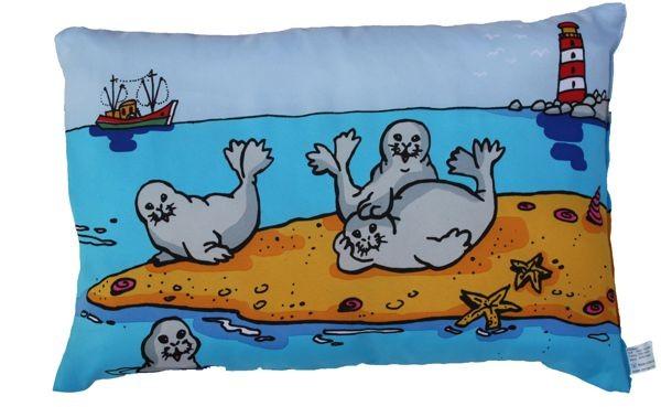 Kissen Robben auf einer Sandbank, doppelseitig bedruckt ca. 28 x 40 cm Nr. 1187